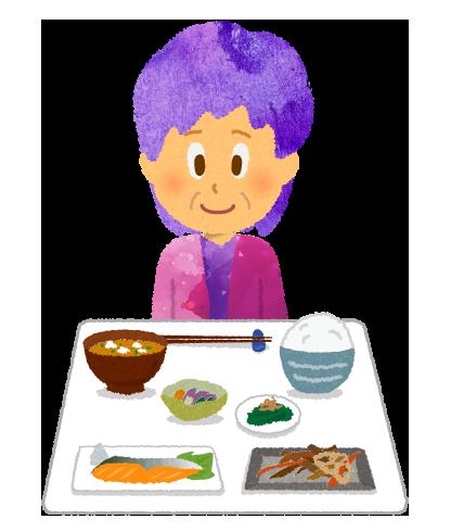 日本食と年配の女性のイラスト.png